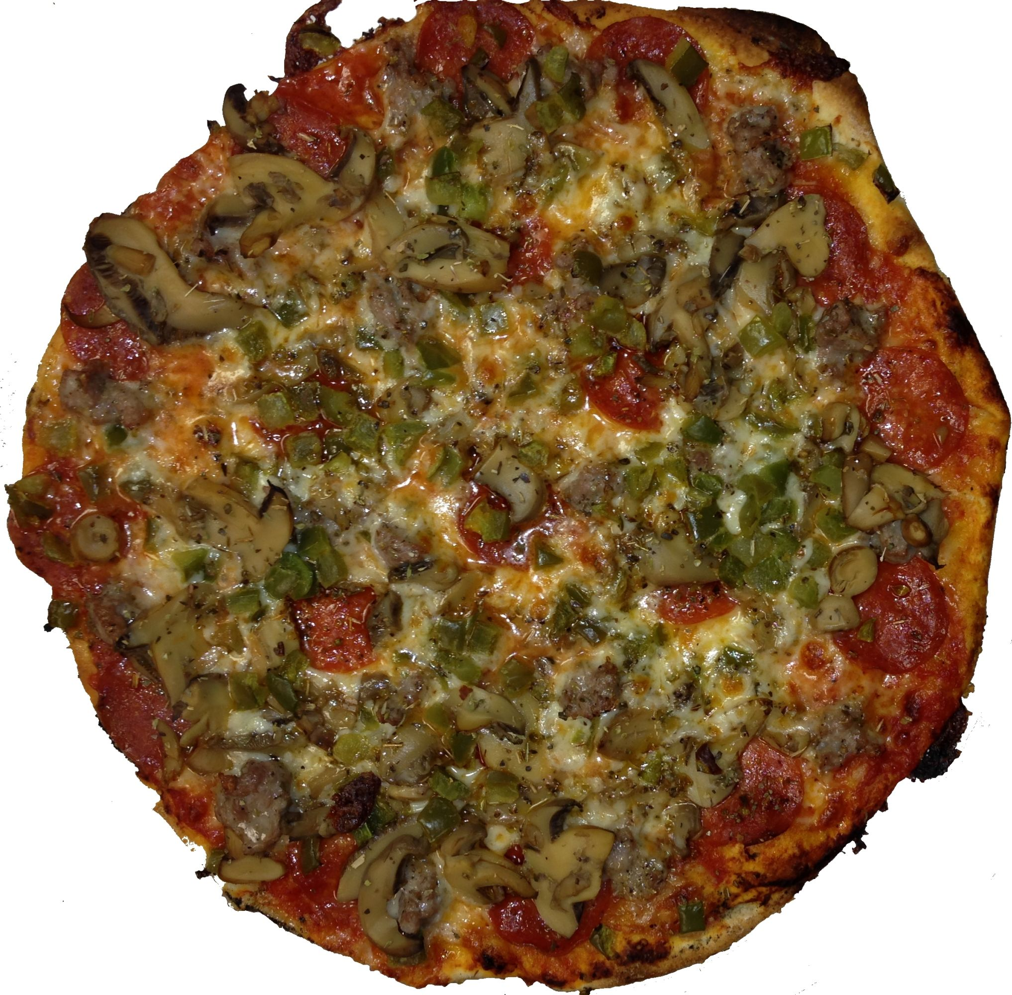 white around Fricanos_EBA Pepperoni, Sausage, Mushroom, Green Pepper Pizza 8.jpg