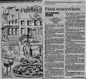 "The Muskegon Chronicle May 21, 1983. article ""Pizza Everywhere"", by Jim Frisinge in the Eat/Drink Guide"